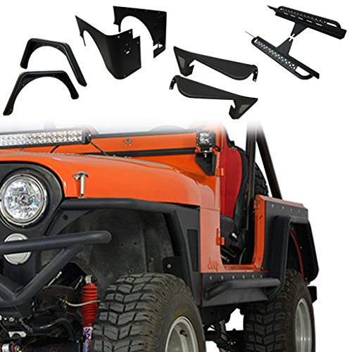E-Autogrilles 76-86 Jeep Wrangler CJ7 Off Road Front Fender Flare and Rocker Guard with Step Board and Corner Guard and Rear Fender (Cj7 Corner)