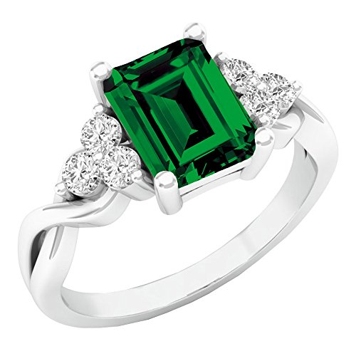 Sterling Silver 8X6 MM Lab Created Emerald & White Sapphire Engagement Ring (Size 10) - Sterling 10 X 8 Emerald