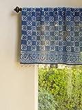 Saffron Marigold – Starry Nights – Navy Blue and White Batik Print Hand Printed – Sheer Cotton Voile Window Valance Curtain – Rod Pocket – (46″ x 17″)