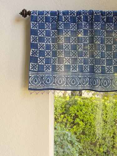 - Saffron Marigold – Starry Nights – Navy Blue and White Batik Print Hand Printed – Sheer Cotton Voile Window Valance Curtain – Rod Pocket – (46