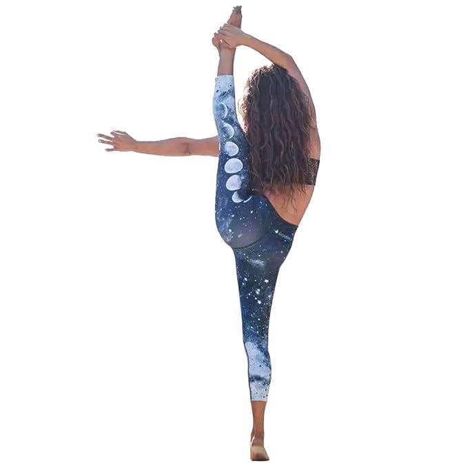 VPASS Mujer Pantalones,Elásticos Impresión Moda Pantalones de Yoga Mujer Fitness Mallas Gym Yoga Slim Fit Pants Largos Pantalones Leggings Cintura ...