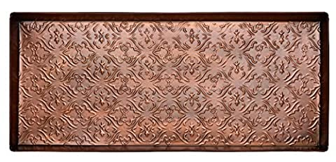 Home Furnishings by Larry Traverso Jacquard Pattern Metal Boot Tray, 30-Inches by 13-Inches, Antique Copper - Home Furnishings