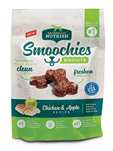 Rachael Ray Nutrish Smoochies Biscuits Natural Dog Dental Treats, Chicken & Apple Biscuits, 3 oz. (Pack of 8) ()
