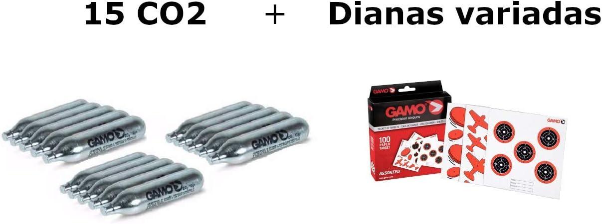 Pack 15 bombonas CO2 12gr. Gamo + 100 Dianas Gamo variadas. para Pistolas y Carabinas