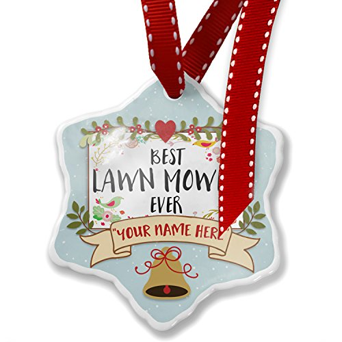 (NEONBLOND Add Your Own Custom Name, Happy Floral Border Lawn Mower Christmas Ornament)