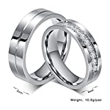 ROWAG 6MM Men Titanium Stainless Steel Promise Engagement Couple Wedding Bands for Him and Her Women Cubic Zirconia CZ Rings