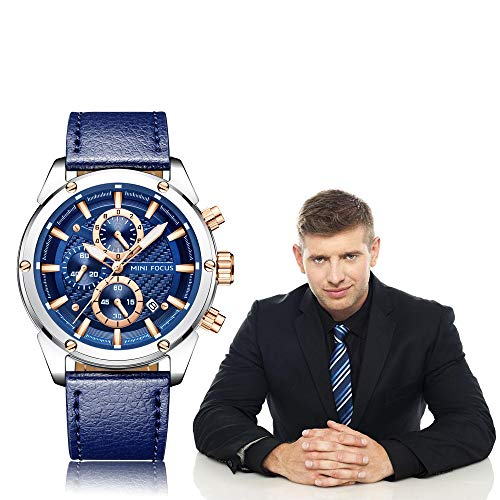 Men Watches Business, MF MINI FOCUS Quartz Wrist Watch (Fashion, Blue, Casual), Design Leather Band Strap Wristwatchs for Men Gift