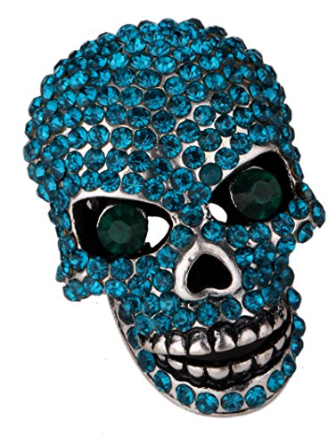 (YACQ Women's Crystal Skull Pin Brooch with Moving Jaw Biker Jewelry Costume)