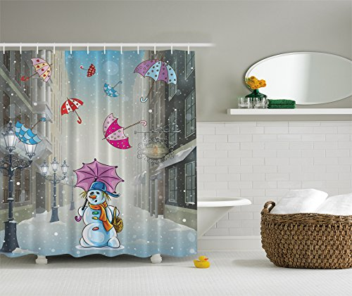 Christmas Cartoon Decor by Ambesonne Bathroom Shower Curtain Set, 69 x 70 Inches, Blue White