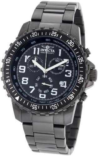 - Invicta Men's 1328 Chronograph Black Dial Two-Tone Stainless-Steel Watch