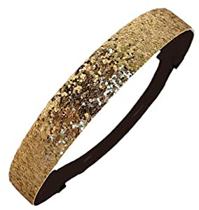 Gold Glitter Headband by Kenz Laurenz - Elastic Stretch Sparkly Fashion Headbands for Teens Girls Women Softball Pack Volleyball Basketball Set Sports Teams Store