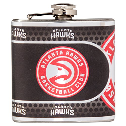 NBA Atlanta Hawks Stainless Steel Hip Flask with Metallic Graphics, 6 oz., Silver