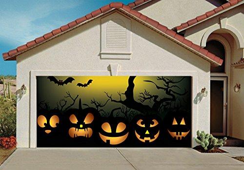 Garage Door Halloween Decorations Cover Decor Bats Pumpkin Night Sky Tree Bat 3d Billboard Outside Decoration for Garage Door Halloween (Halloween Decorations Garage Door)