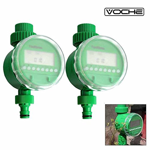 Voche® 2 Pack NEW IMPROVED VERSION 2017 Automatic Electronic Garden Water Timer with LCD Digital Display - UK SELLER