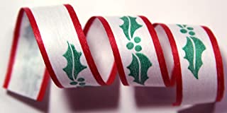 "product image for 100% Biodegradable Natural Ribbon | Prints & Stripes | Ribbon for Crafts | Cotton Curling Ribbon | Holiday Ribbon | Wrapping Ribbon | Eco-Friendly Ribbon (Holly Holiday, 1/2"" x 100 Yards)"