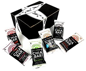 Health Warrior Chia Bars 6-Flavor Variety: One 0.88 oz Bar Each of Coffee, Chocolate Peanut Butter, Dark Chocolate Cherry, Coconut, Açaí Berry, and Mango in a BlackTie Box (6 Items Total)