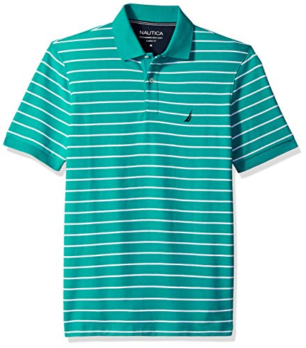 Nautica Men's Classic Fit Short Sleeve Striped Polo Shirt, Glfcosteal, XX-Large