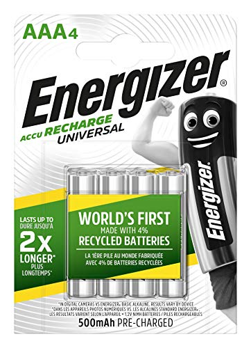 Energizer Rechargeable Universal AAA 500mAh Batteries - Pack of 4 ()