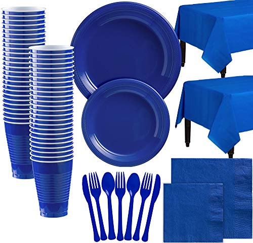 Party City Royal Blue Plastic Tableware Kit for 100 Guests, 852 Pieces, Includes Plates, Napkins, and Table Covers