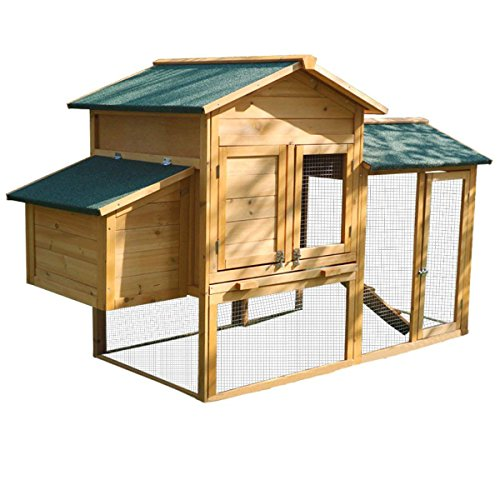 (Yardeen Wooden Chicken Coop Bunny Rabbit Hutch Hen Quail Pet Cage for Winter and Windy Backyard Outdoor with Nesting Box and Run Cage)