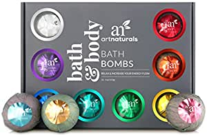 ArtNaturals Bath Bomb Gift Set – (12 x 4 Oz/113g) – Handmade Essential Oil Spa Bomb Fizzies – For Relaxation, Moisturizing and Fun for All Ages