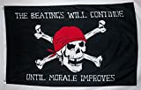 Cheap Nuge Complete Steel Powered Coated Flag Pole With Hardware & 3′ X 5′ The Beatings Will Continue Until Morale Improves Pirate Flag