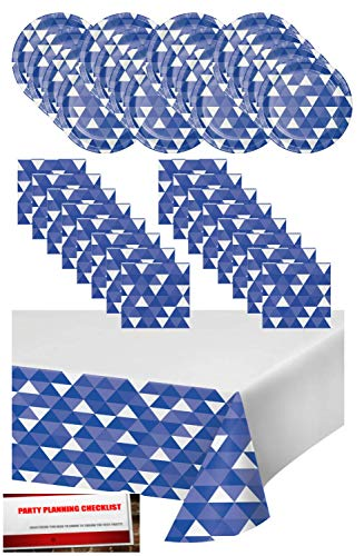 Cobalt Blue Fractal Geometric Triangles Party Supplies Bundle Pack for 16 - Plates, Napkins and Table Cover (Plus Party Planning Checklist by Mikes Super Store) (Blue)