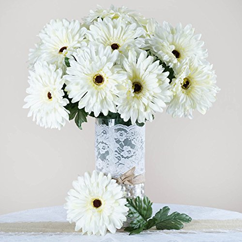 BalsaCircle 28 Cream Silk Gerbera Daisy Flowers - 4 bushes - Artificial Flowers Wedding Party Centerpieces Arrangements (Gerbera Flower Arrangements)
