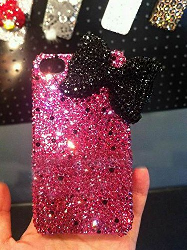 Black Skull Case Crystal (Bow Phone Case iphone 6s Rhinestone iPhone 7 Case Bling Phone Covers For iphone 6s 6 plus Hot Pink Crystal Black Ribbon)