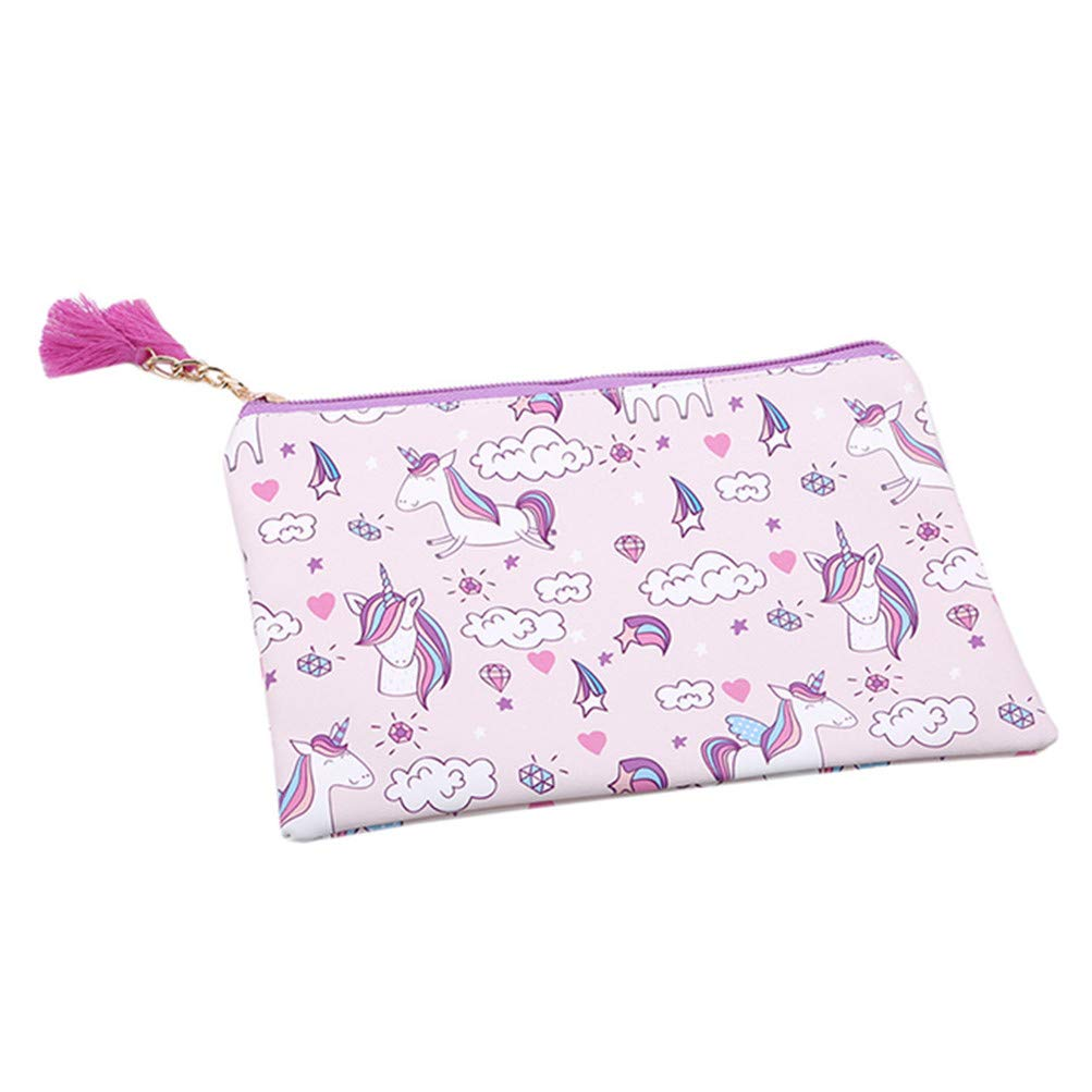 Flybloom Unicorn Tassel PU Leather Multifunctional Pen Bag Pencil Case Makeup Tool Bag Storage Pouch Purse, Style 8