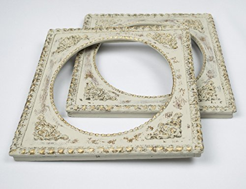 Vintage Gesso (Ornate Picture Frame Pair Gesso Trim Distressed Oyster White and)