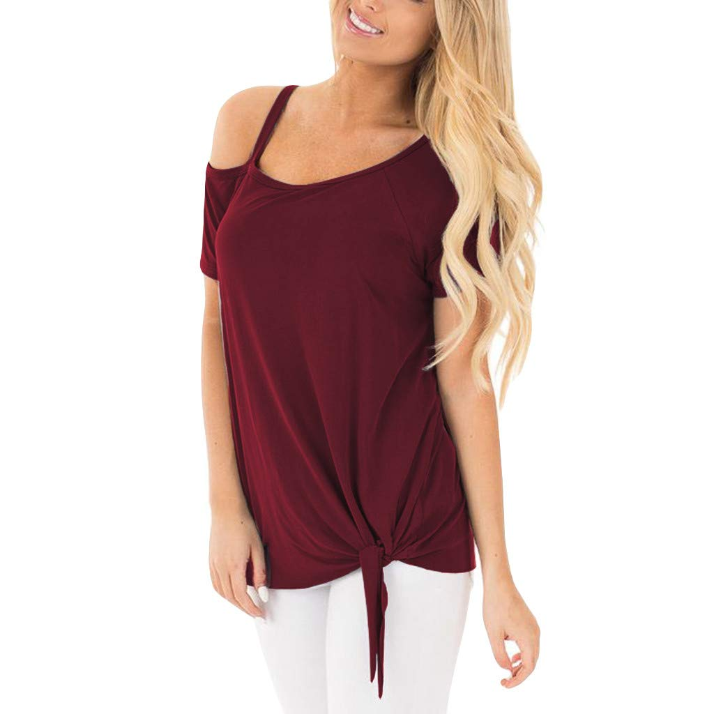 YEZIJIN Women Fashion Casual Strapless Solid Short Sleeve Knot T-Shirt Top Blouses Fashion 2019 Under 10 Dollars Wine