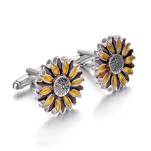 Yoursfs Sunflower Enamel Cufflinks Dark & Light Yellow Bullet Cufflinks Positive Fashion Cufflinks by Yoursfs (Image #4)