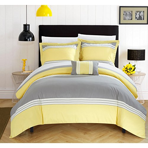 8 Piece Grey Yellow Patchwork Duvet Cover Queen Set, Gray Honey White Color Block Bedding Striped Pattern Bed In A Bag For Master Bedroom Casual Comfortable Gorgeous, Microfiber Duvet Cover Honey