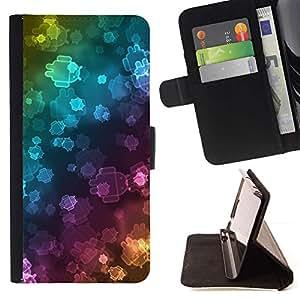 Momo Phone Case / Flip Funda de Cuero Case Cover - Wallpaper Neon Robots Bling Universo - Samsung Galaxy Core Prime