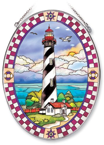 Amia Oval Suncatcher with St. Augustine Lighthouse Design, Hand Painted Glass, 6-1/2-Inch by 9-Inch