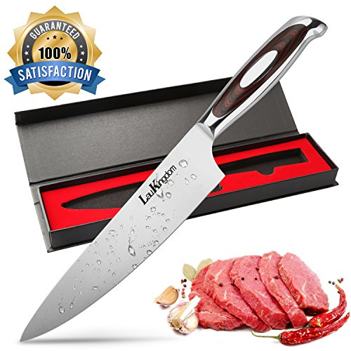LauKingdom Chef Knife, High-carbon Stainless Steel Blade Multipurpose Chefs Knives with Sharp Straight Edge for Chopping, Mincing, Slicing and Dicing, 8-Inch Kitchen Knife