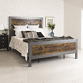 New Rustic Queen Industrial Wood And Metal Bed Includes Head Footboard