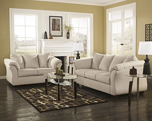 2 pc Darcy collection stone microfiber fabric upholstered sofa and love seat set with flared arms
