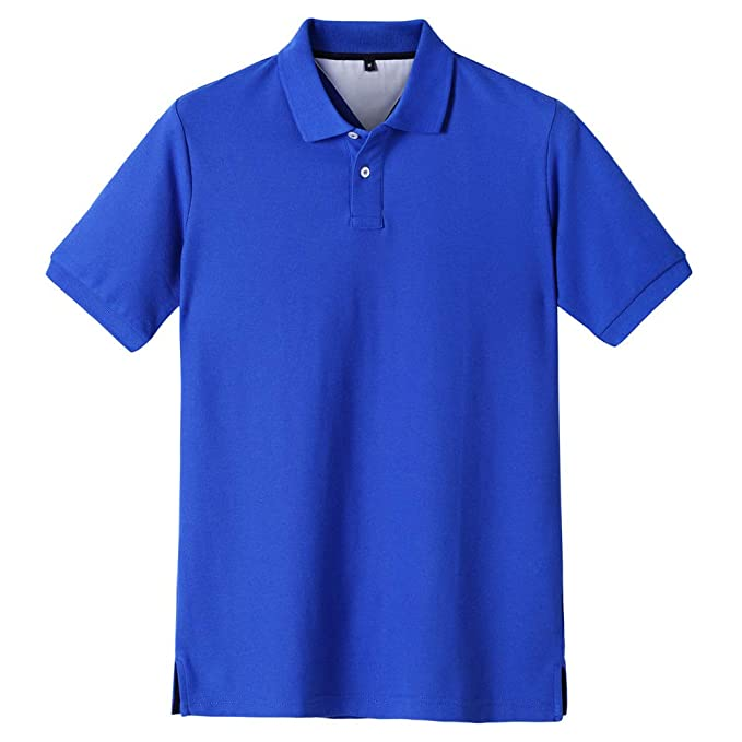 ACOTOP Men's Pure Cotton Classic Solid Short Sleeve Polo