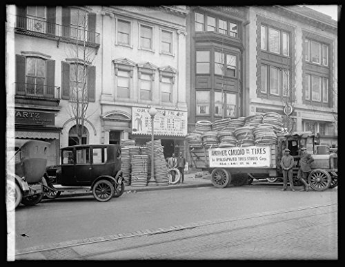 Vintography 16 X 20 Reprinted Old Photo Of Truck With Tires For Amalgamated Tire Stores Corp   1922 National Photo Co 94A