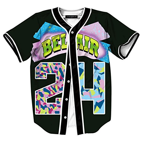 (HOP FASHION Youth Unisex Boy Girl Baseball Jersey Short Sleeve 3D Number 24 Print Baseketball Dance Team Uniform Tees HOPM007-37-XS)