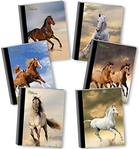 New Generation - Horses - Composition Book, 6 PACK, WIDE Ruled, 80 Sheets / 160 Pages, 7.5 x 9.75 Inches, UV Glossy Laminated Hard covers (6 PACK COMPOSITION NOTEBOOK WIDE RULED) by New Generation