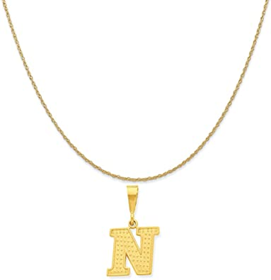 14k Yellow Gold N Key Charm on a 14K Yellow Gold Carded Rope Chain Necklace