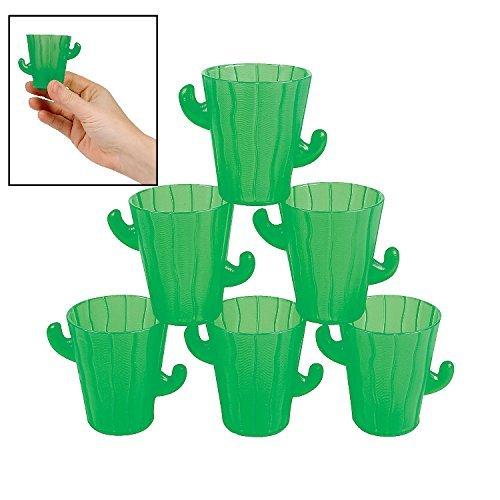 Fun Express - Plastic Cactus Shot Glasses for Cinco de Mayo - Party Supplies - Drinkware - Shot Glasses - Cinco de Mayo - 12 -