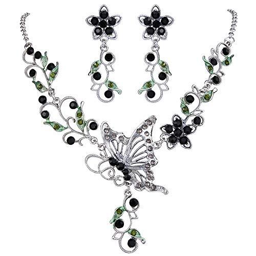 EleQueen Women's Austrian Crystal Butterfly Flower Leaf Necklace Earrings Set -
