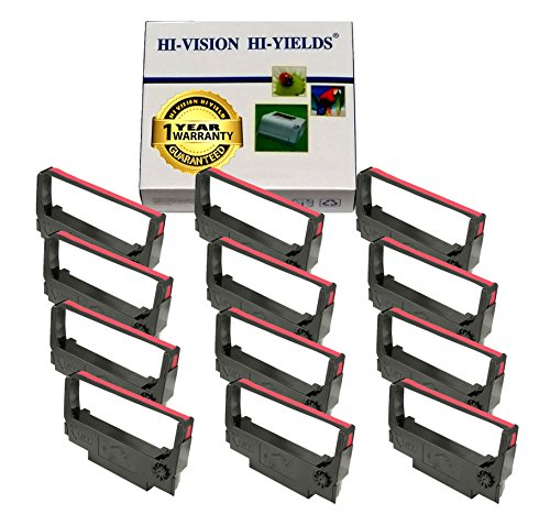 HI-VISION ® Compatible Epson ERC 30/34/38 (Black/Red) Ink Ribbon Replacement (12 Pack) (Black Replacement Ribbon)