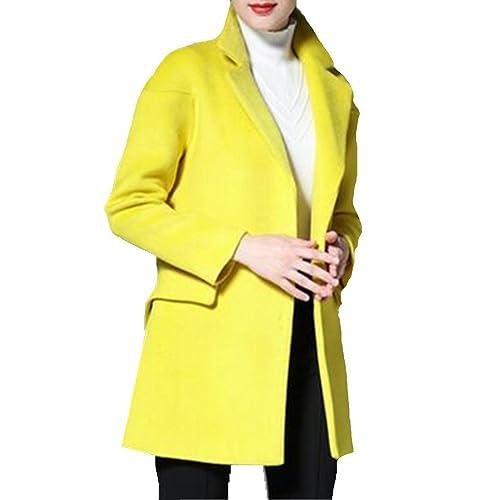 Chaqueta De Lana Pura Delgado Dongkuan 2016 De Las Mujeres,L-yellow