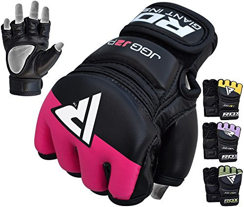 (RDX Kids MMA Gloves Grappling Martial Arts Sparring Punching Bag Junior Cage Fighting Youth Maya Hide Leather Mitts Children UFC Combat Training)