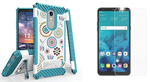 Collage Circles - Beyond Cell Military Grade [MIL-STD 810G-516.6] Kickstand Rugged Case (Circle Collage) with Bubble-Free Tempered Glass Screen Protector, Atom Cloth for LG Stylo 4